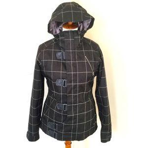 Women's black striped dryride burton snow jacket!
